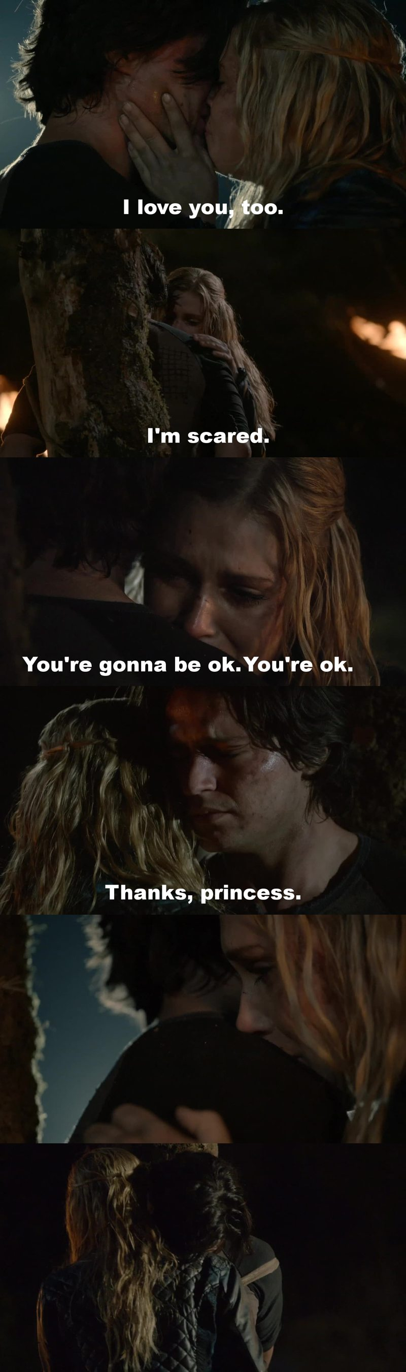 """despite everything he has done I'm so sorry for Finn.. that """"Thanks, princess."""" broke my heart :( btw Clarke is very strong and brave."""