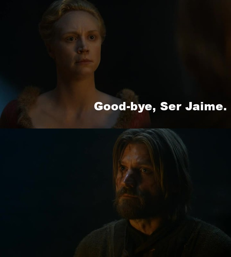 This is the goodbye of two true lovers! Jamie and Brienne OTP!