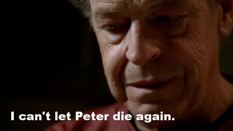 There's so much tension in this episode with the infection, Peter going nuts because of the virus, etc... And then Walter add a new layer by remembering us the end of season one and the mystery grave of his son, as he already did quite some times from the beginning of season two.