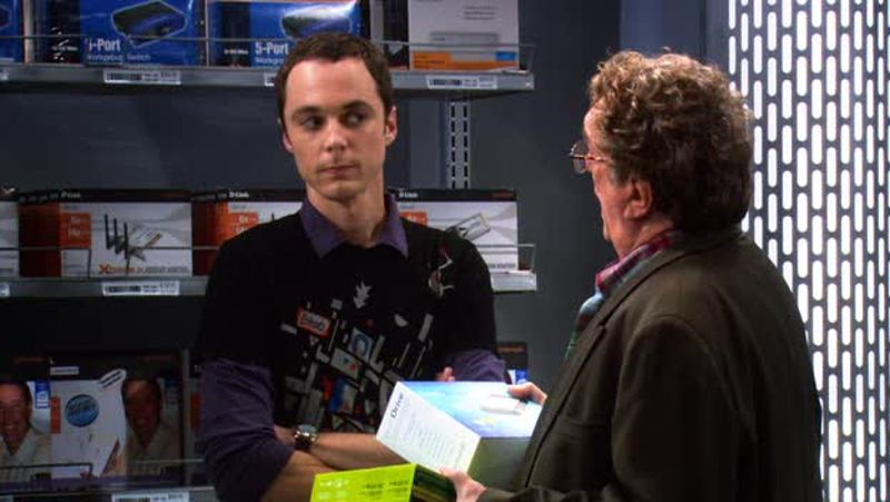"""Customer: Which hard drive do I want-- firewire or usb?  Sheldon: It depends on what buss you have available.  Customer: I drive a chevy cavalier.  Sheldon: Oh, dear lord. What computer do you have?  And please don't say """"a white one. """""""