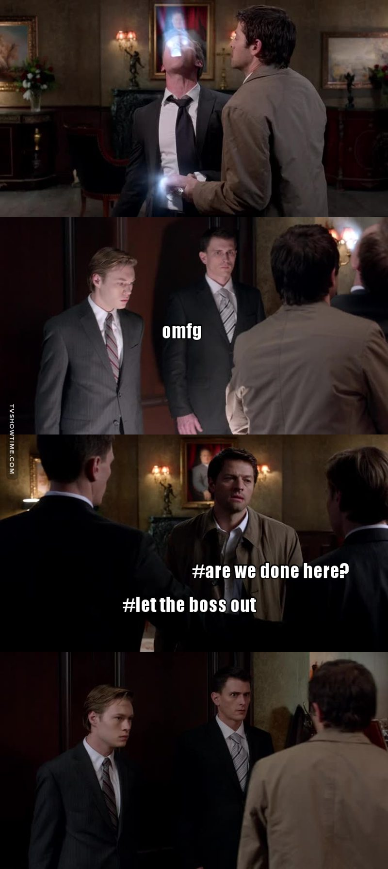 They look so terrified omg😂 Cas can turn into a real badass, and I'd choose to follow him too😉