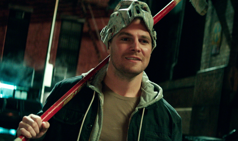 "Evelyn Sharp: ""What kind of vigilante wears a hockey mask?"" Oliver: ""I think it's cool."""