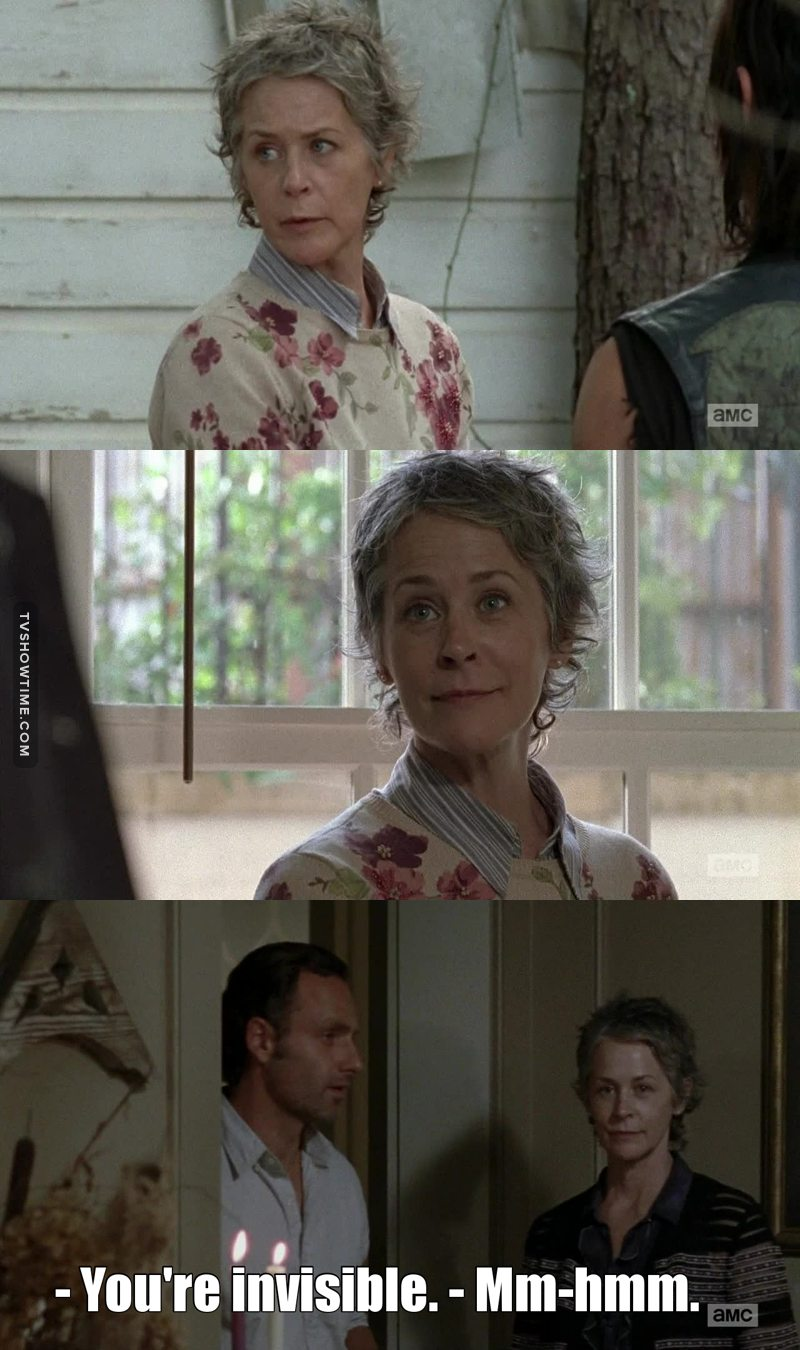 """I love how Carol immediately got into the act of the """"innocent housewife"""" once she set foot into Alexandria. She is one of the best characters on the show and her fake innocent smile is the best 😂❤️"""