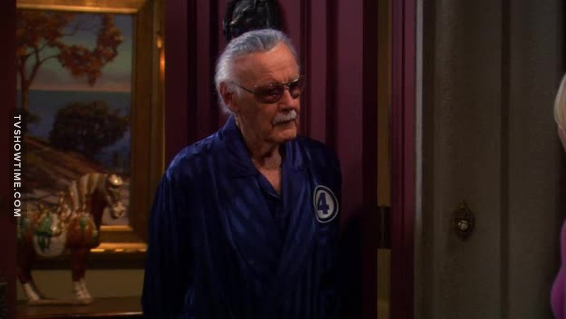 Stan Lee with the Fantastic 4's Bathrobe. That's fantastic 😂  (Fantastic Four = double F = Raj was right!!!!)