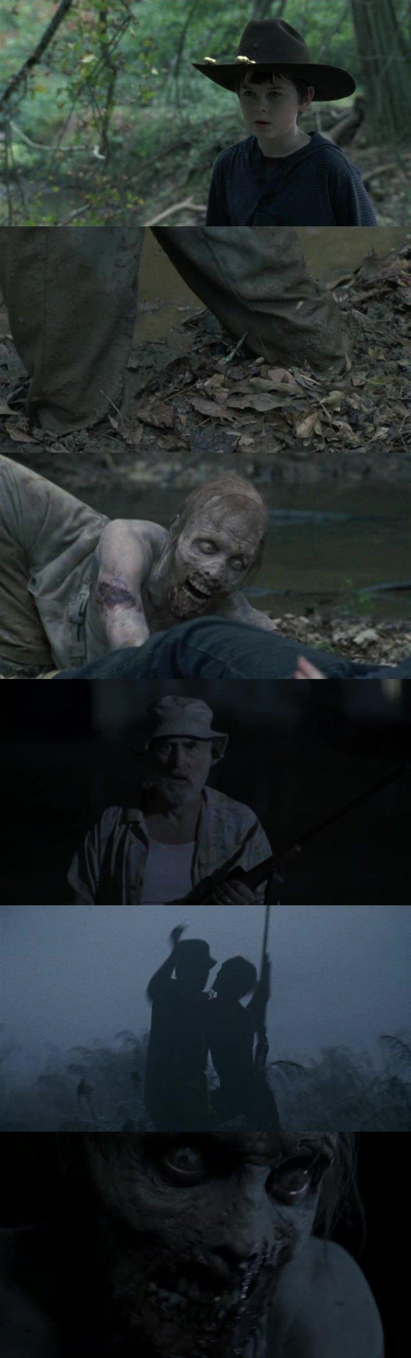 Ah putain Carl mais quel petit con, c'est en parti à cause de lui que Dale est mort.