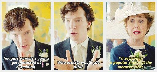 """If someone could move Mrs Hudson's glass just slightly out of reach, that would be lovely"" 😂"