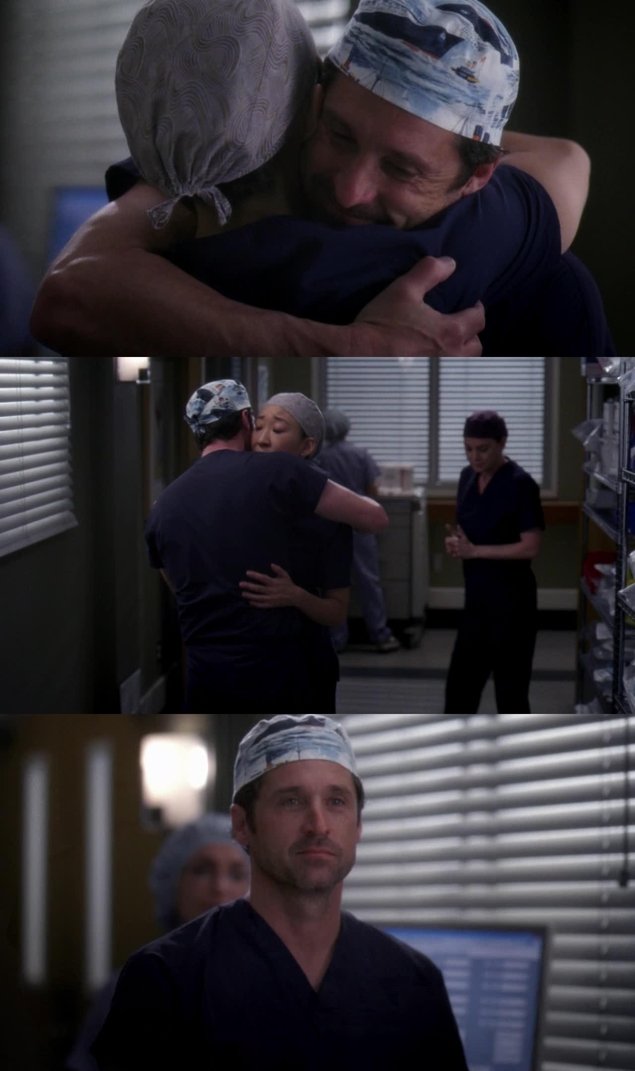 I don't know why among all the hugging, this scene with Derek was one of the most touching for me... Probably because they were never really close!