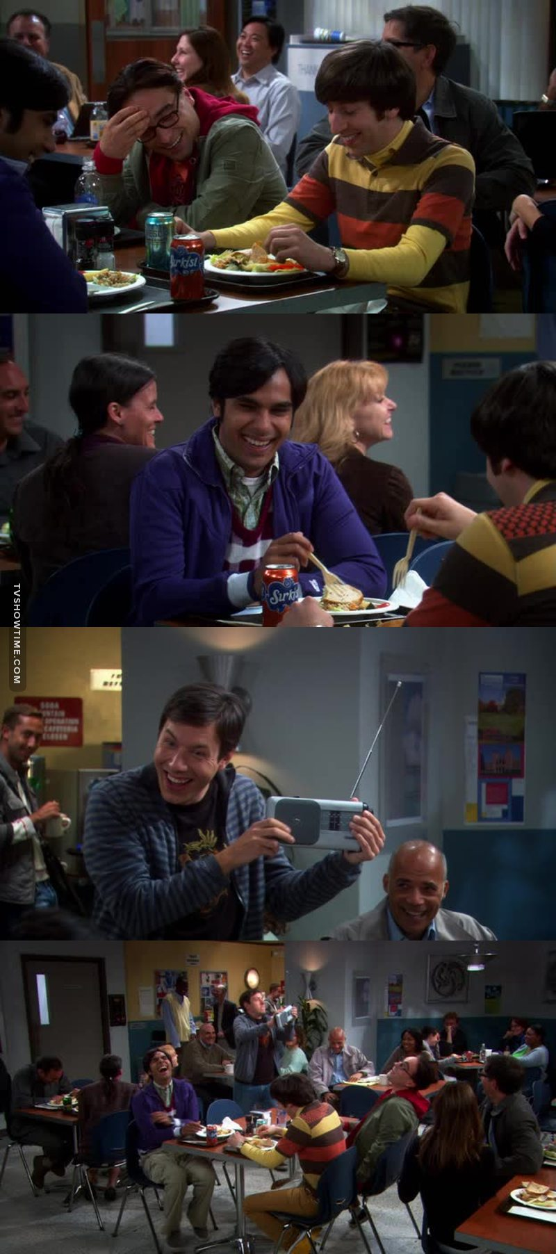 They are Sheldon's friends and they laugh at him/with Kripke?? That is so cruel