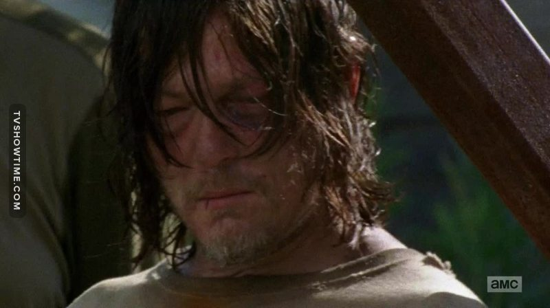 Seeing Daryl like this broke my heart. Don't worry boy, Carol is gonna pick you up soon