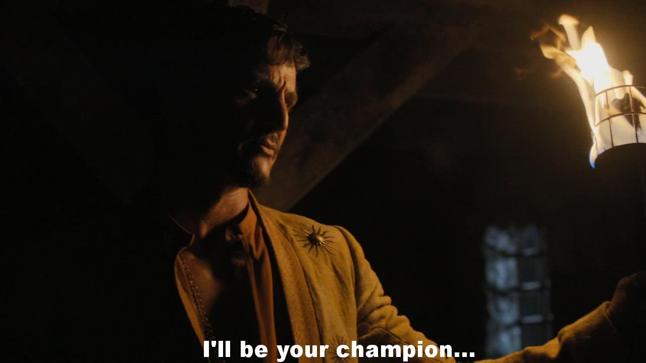 Oberyn, from the first moment I liked this guy! The story of the first meeting with Tyrion when they were young, it's so touching! His sense of justice can give hope to Tyrion, in all directions ... epic!