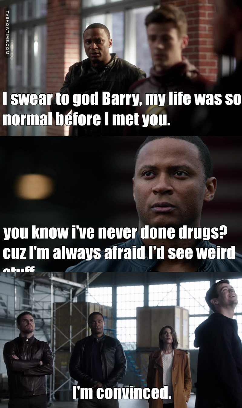 I will never get tired of Diggle's reactions at the people or anything around him. 😂