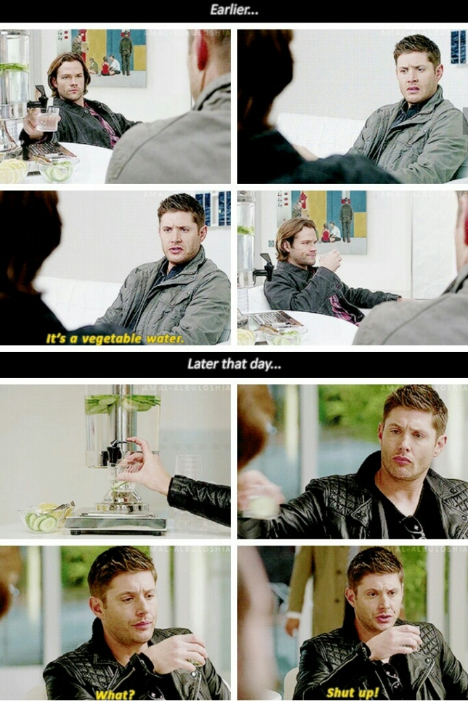 "Sam: ""Seriously?""  Dean: ""What? Shut up.""   😂😂"