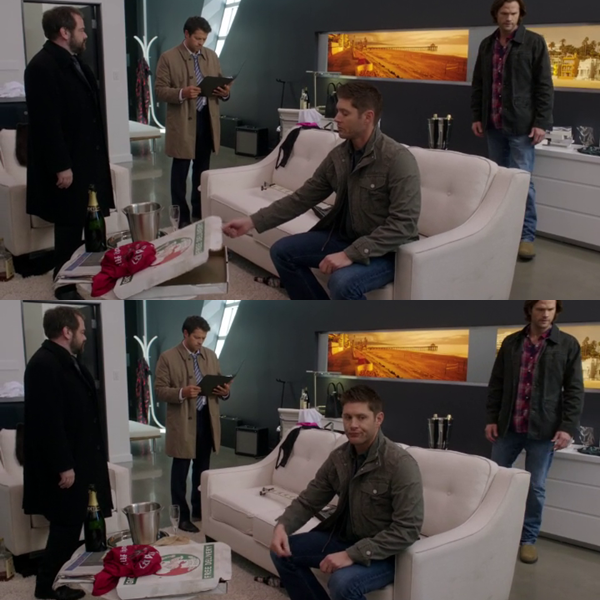 Am I the only one who noticed Dean checking out if there was a pizza left? And his disappointed face after is so hilarious