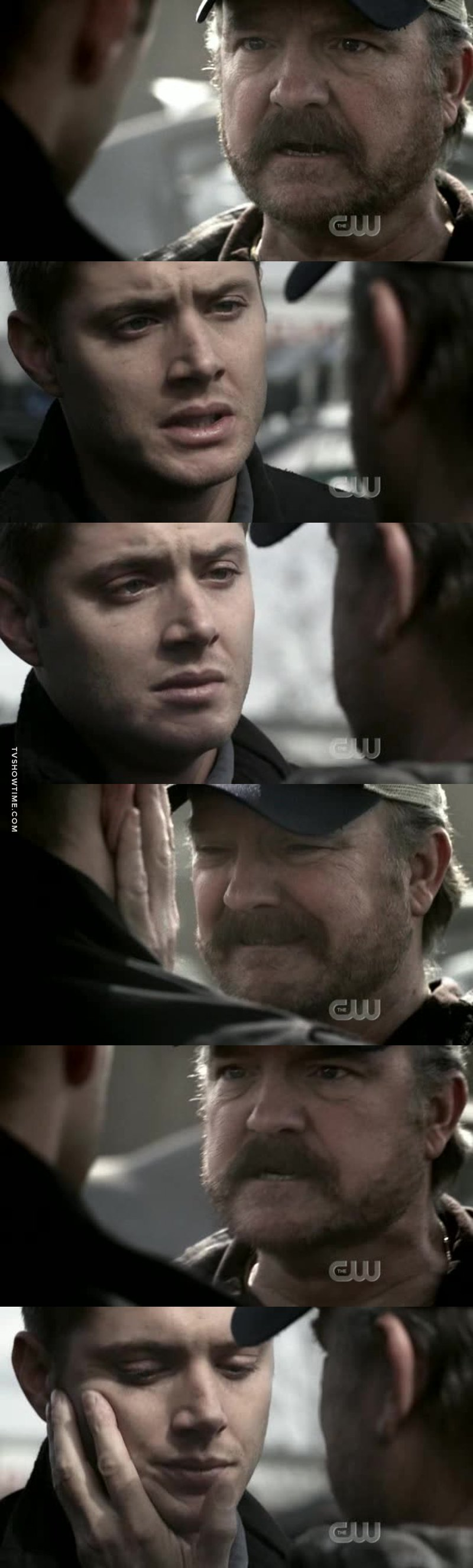 This scene just kills me. The emotion between them. Bobbly truly is like their dad. The range of emotion in the scene between the both of them, Bobby's anger, Dean's acceptance,  Bobby understanding and then the sorrowful helplessness.  It just kills me.