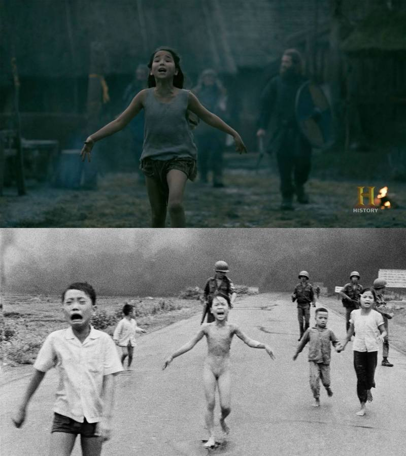 """Did any of you picked up that reference?  The girl is asian, screaming and running with her arms just like the girl in Nick Ut's 1972 photography """"Napalm Girl"""", representing the horrors of war. Notice the """"soldiers"""" behind her too."""
