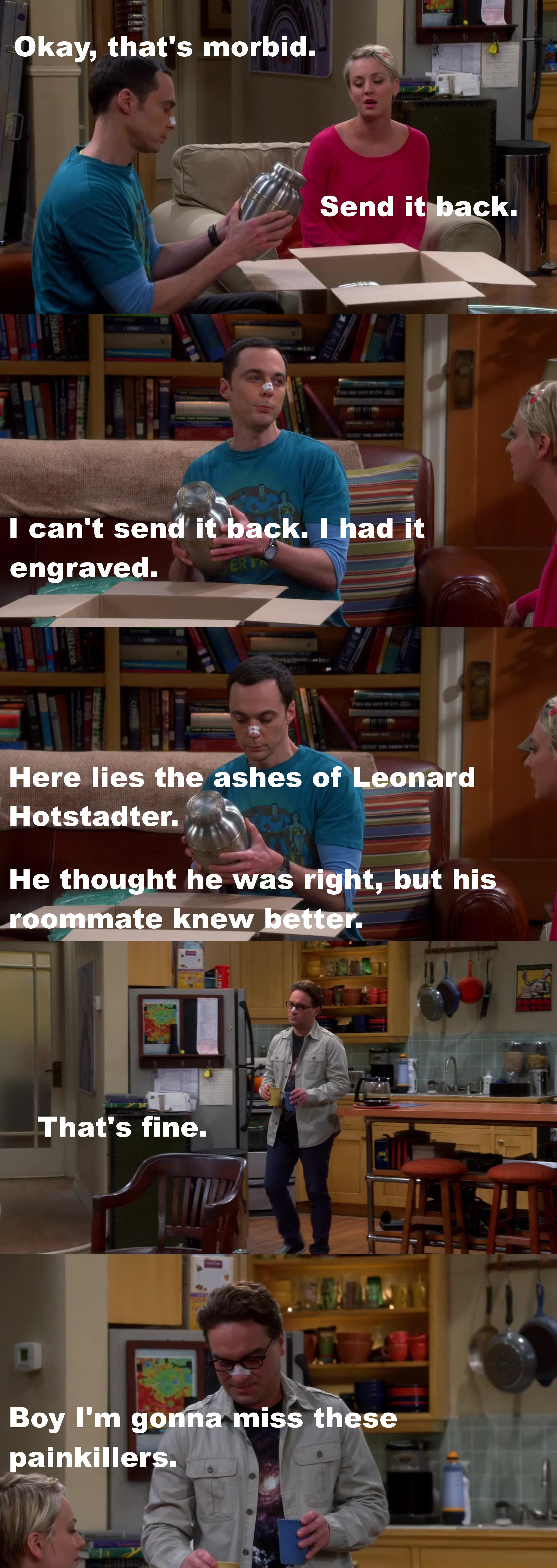 """It's the urn I was going to put you in""- Sheldon! OMG xD"