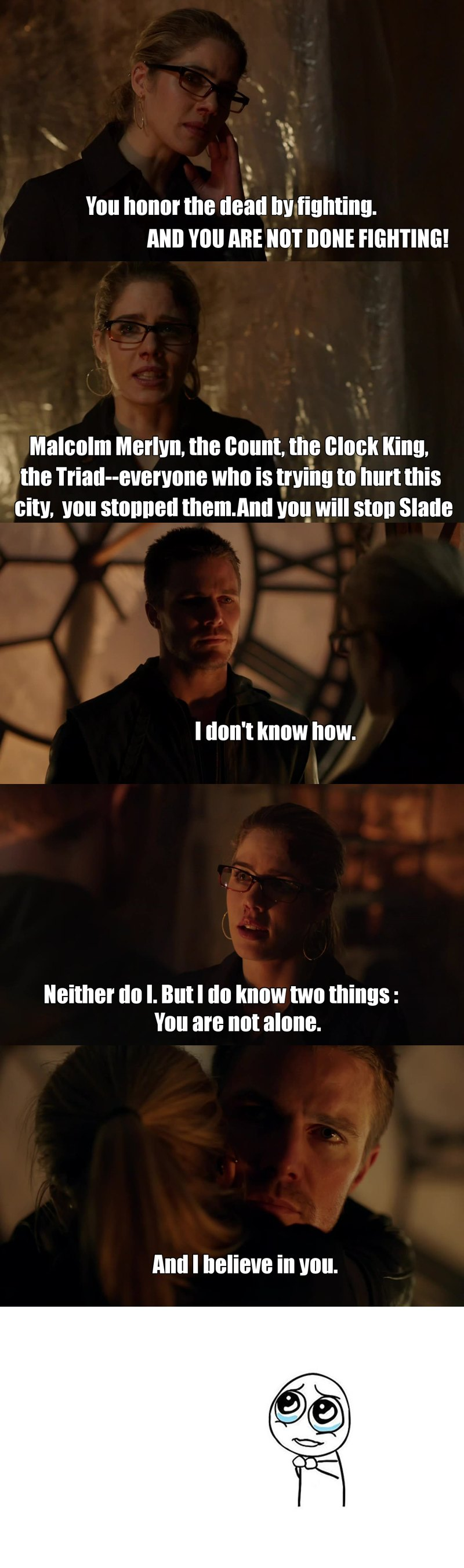 This scene made me cry, Felicity's speech is so beautiful omg. One of the best scene from season 2!