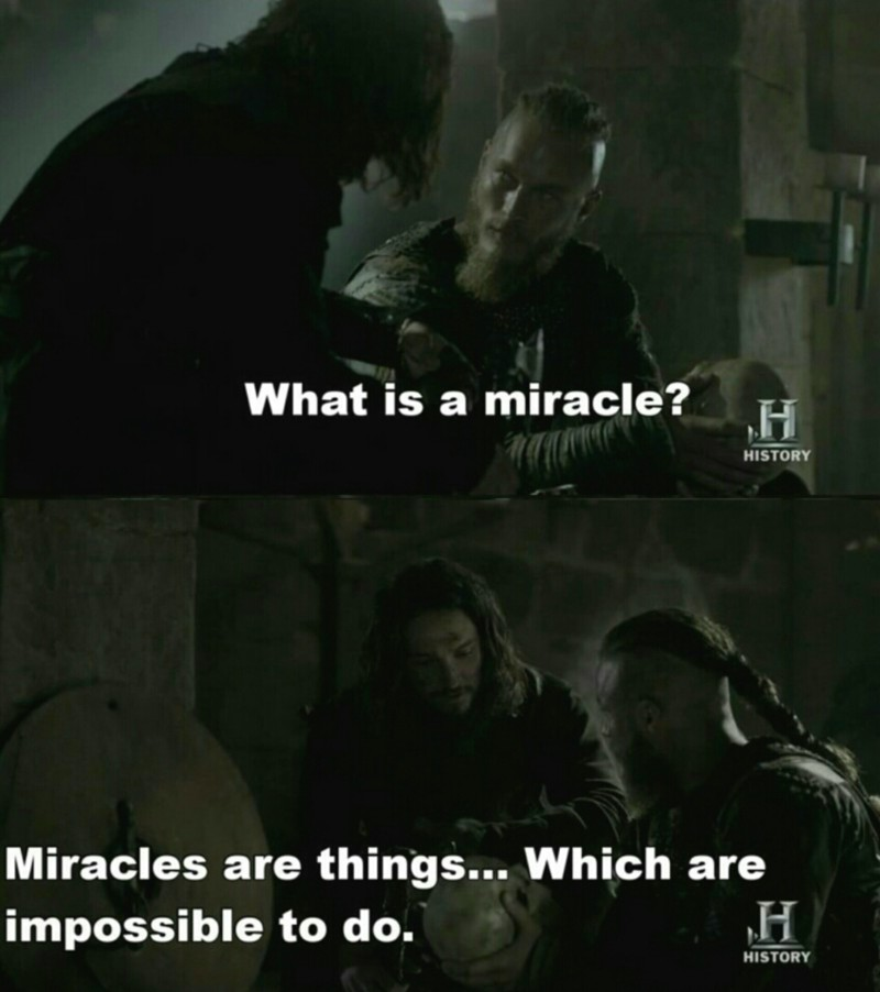 """Someone once explained to me what a miracle is."""