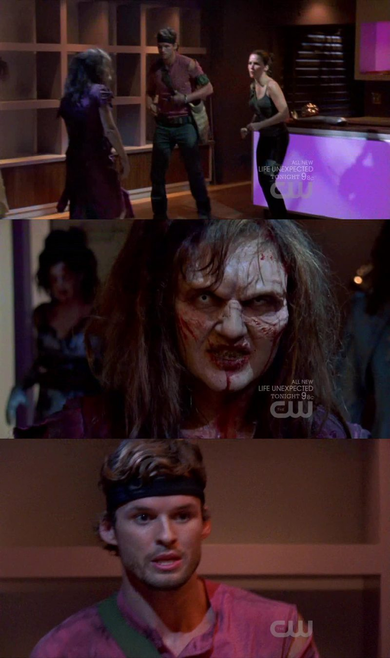 Loved this episode! The opening-Zombie scene was really well done... Everything down to the makeup and Julian and Brooke wearing headbands and yielding weapons!