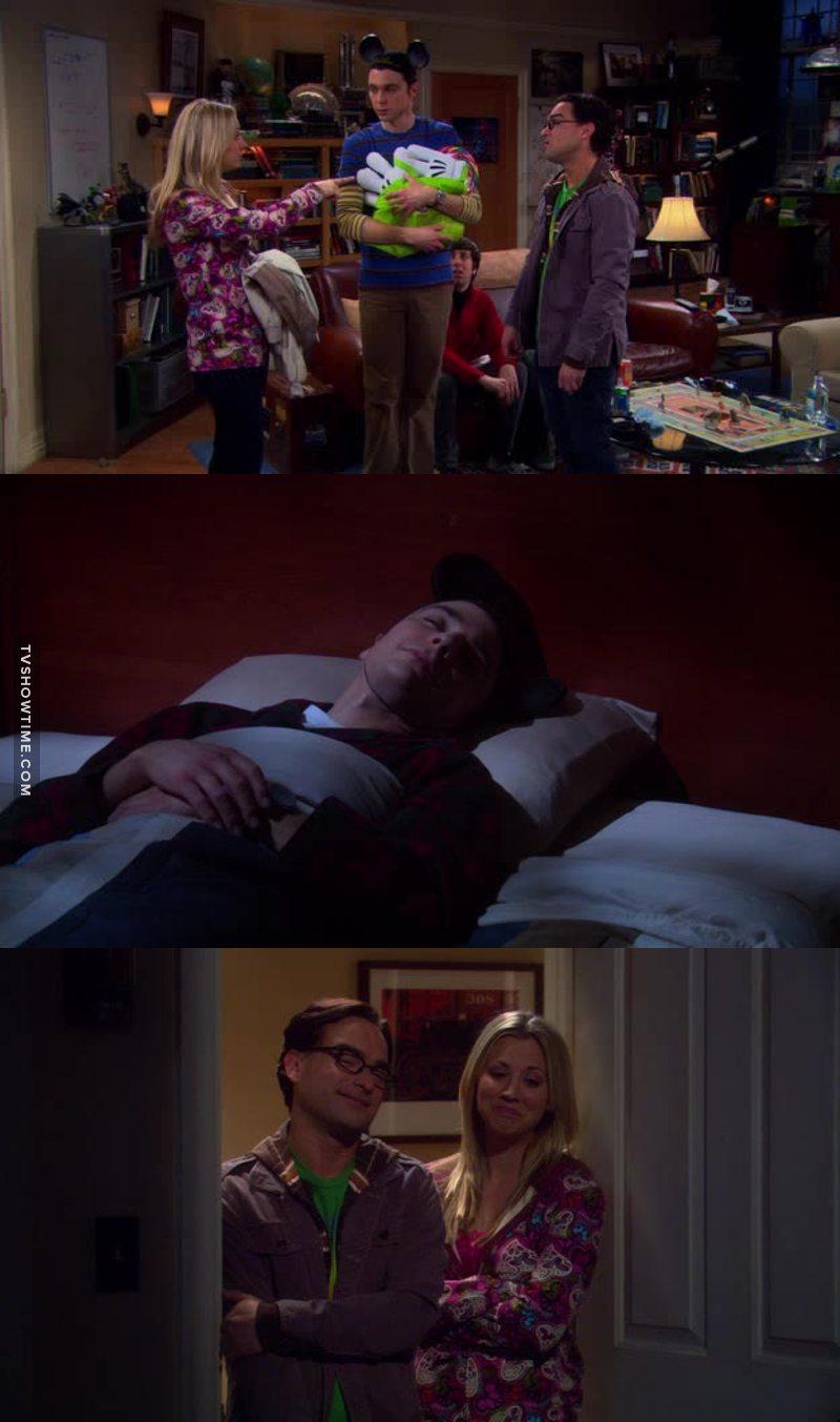 love the way leonard and penny treat sheldon like their little kid