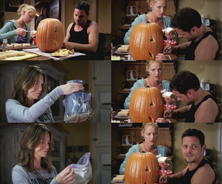 """izzie : """"what is that ?""""  meredith : """"my mother""""  alex : """"happy freaking halloween !"""" 🎃🎃"""