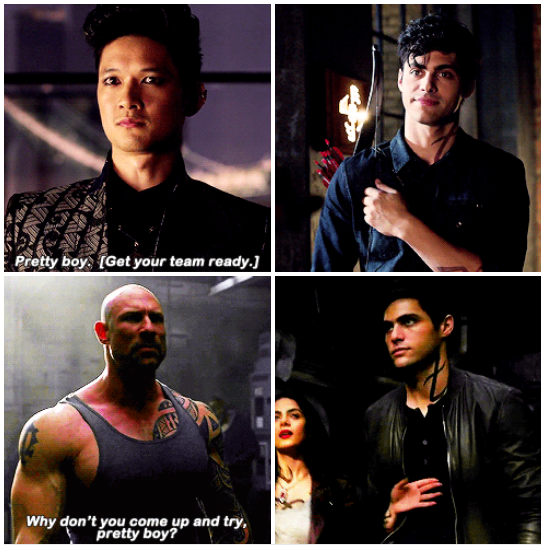 Alec when Magnus called him pretty boy (◡‿◡✿) vs when that other guy called him pretty boy (ง'̀-'́)ง