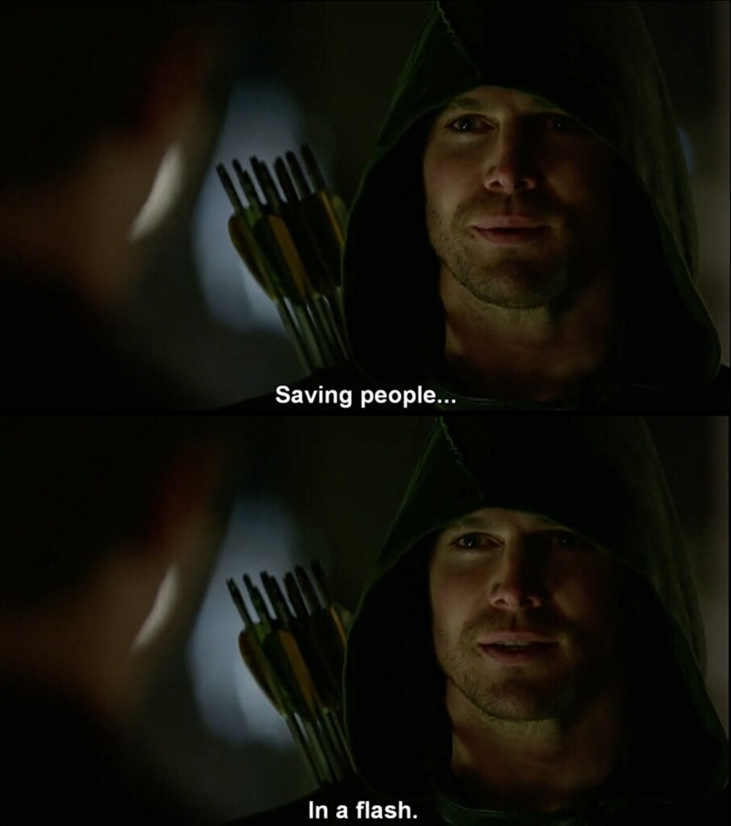 "I think the phrase is ""Saving people, hunting things, the family business."" 😅 #supernatural #theflash #arrow"
