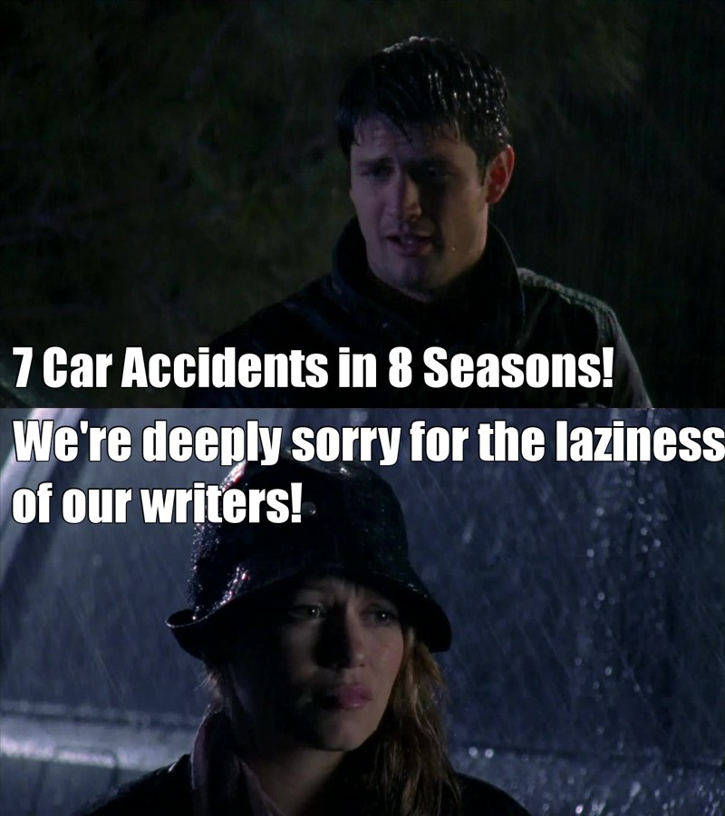 This makes 7 car accidents in 8 seasons... There's literally NO EXCUSE for this. Simultaneously we have a psycho attack, now this is the third psycho (not counting Dan) but I haven't counted actual psycho attacks, maybe the next time around.  I love One Tree Hill but I hate when the writers resort to these lazy tricks.