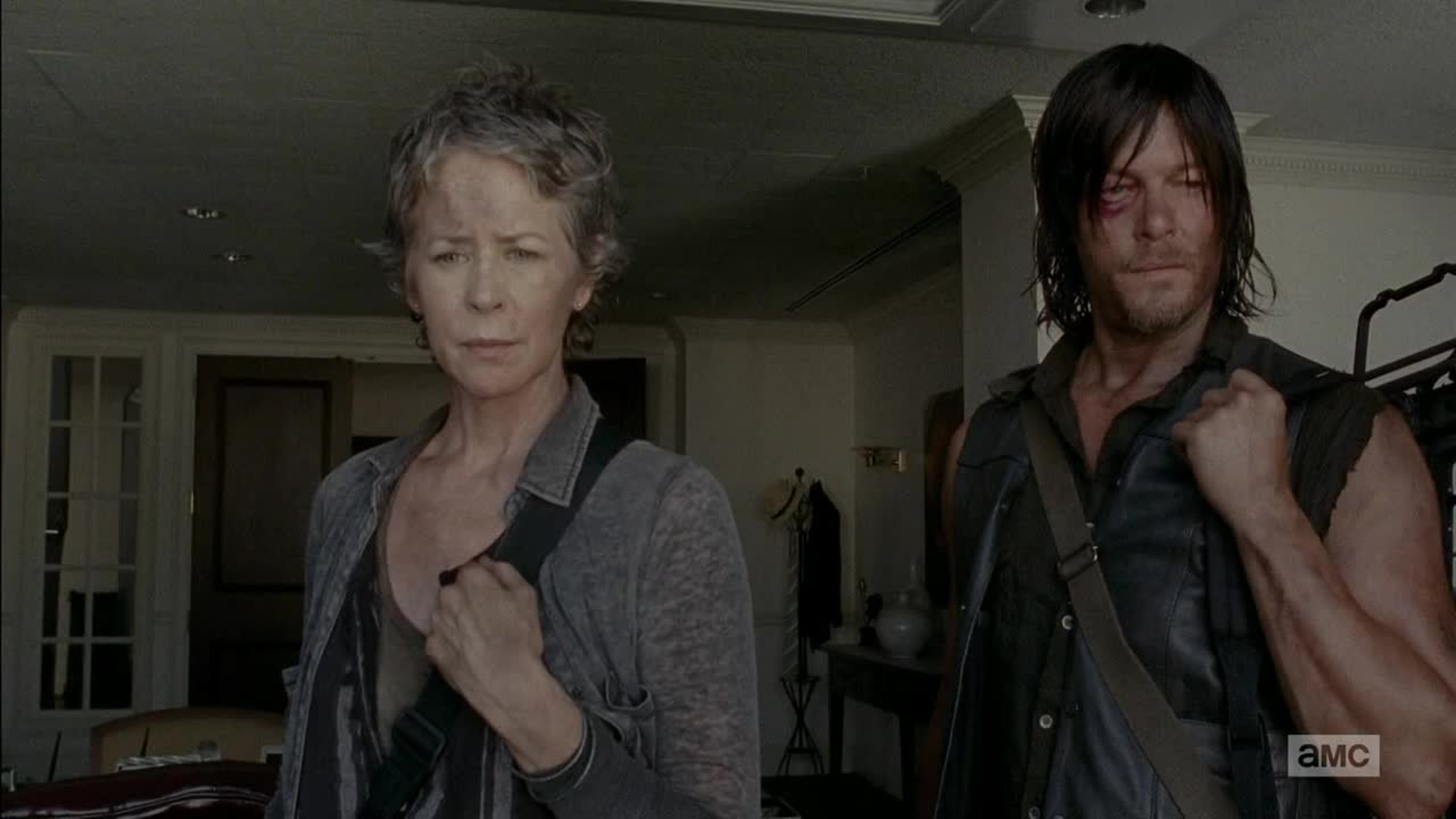 How come her hair is still short and his so long ? Does she know a hairdresser she doesn't want Daryl to meet or what ?