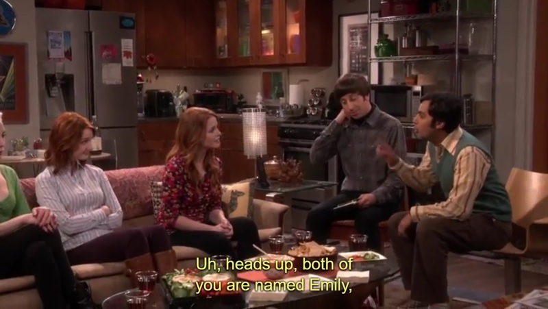 "- Rajesh Koothrappali both of you are named Emily. So we'll call you 'red-headed Emily"" and you ""red-headed Emily junior"" 😂😂😂😂😂"