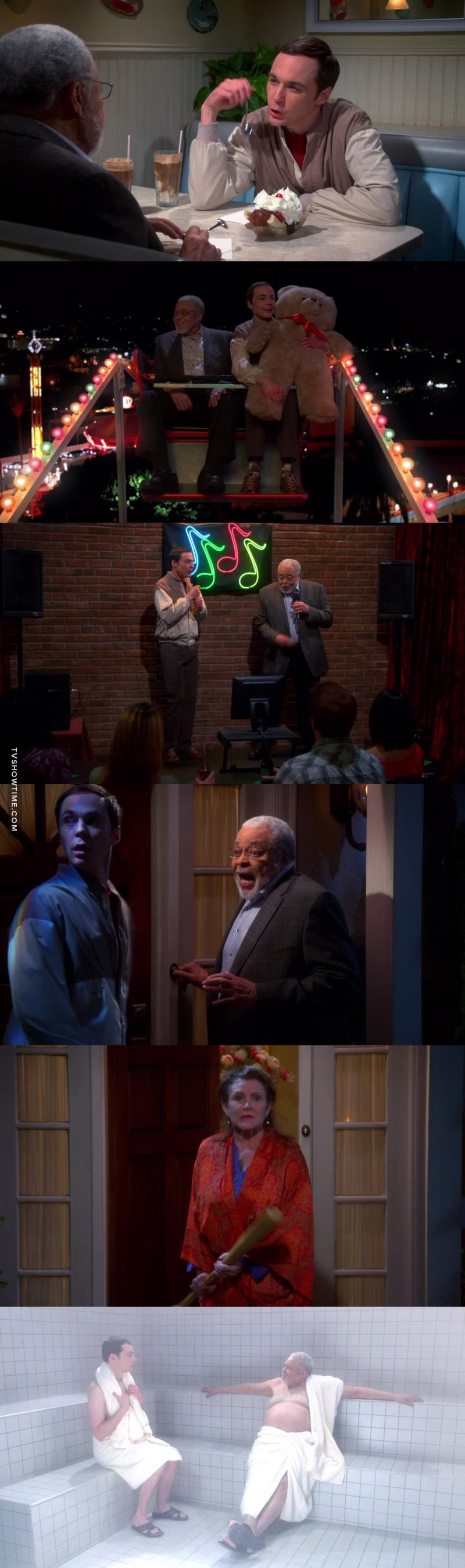O primeiro famoso que não pedi uma ordem de restrição contra o Sheldon! Ele encontrou alguém que deu canseira nele! Maravilhoso esse episódio e poder rever a Carrie!