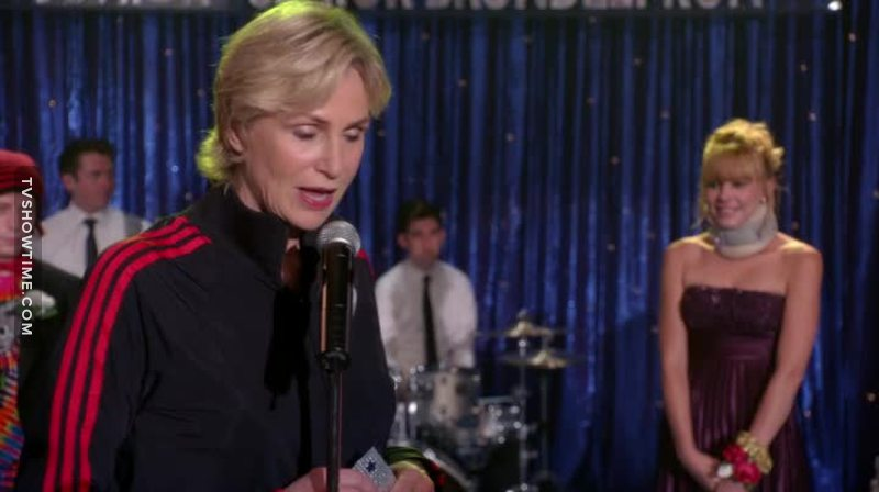 """""""And now your nominees for Prom Queen: neck-brace Cheerio, asian number one, Kitty I-forget-your-last-name, and... some other chick.""""  Sue Sylvester my fav person."""