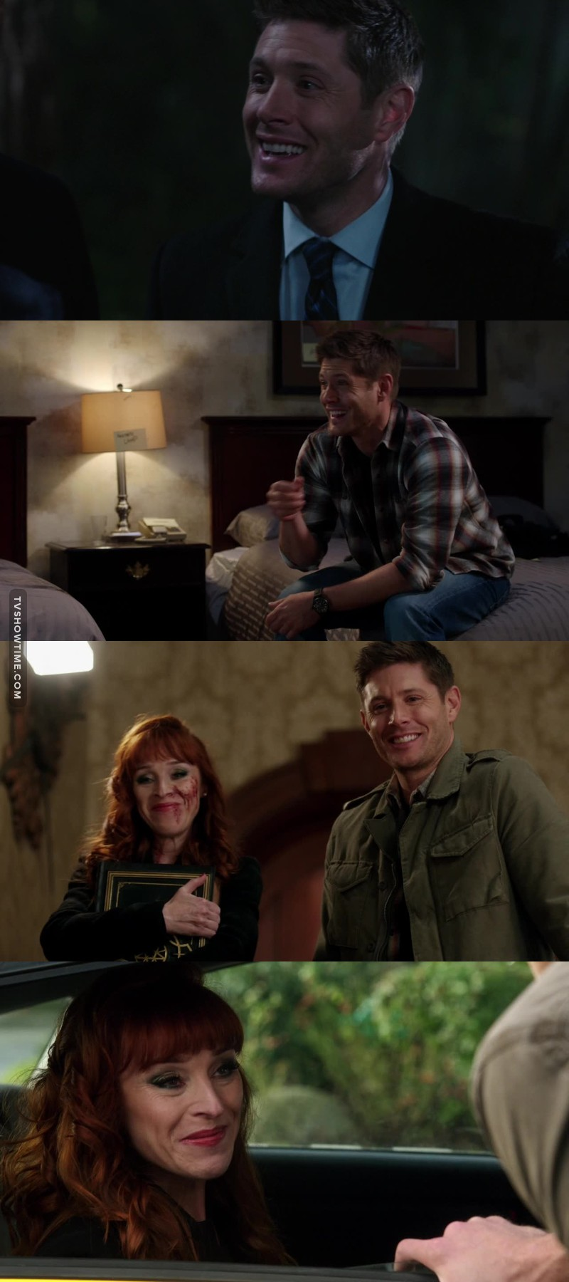 We saw dean laugh and smile this episode more than the whole season, I don't know if I should be smile or cry.  And all my love goes to Rowena I truely the woman.
