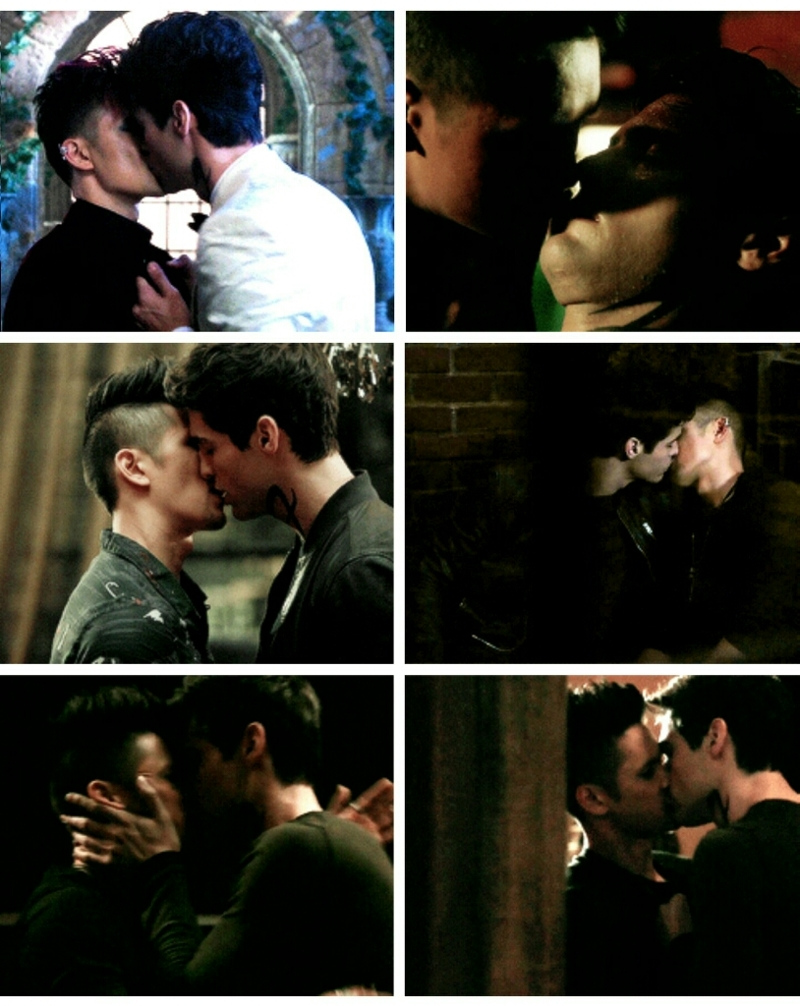 """Can you believe that now when they ask about Malec kiss we can say """"Which one?"""" #blessed 💛💚💙💜"""