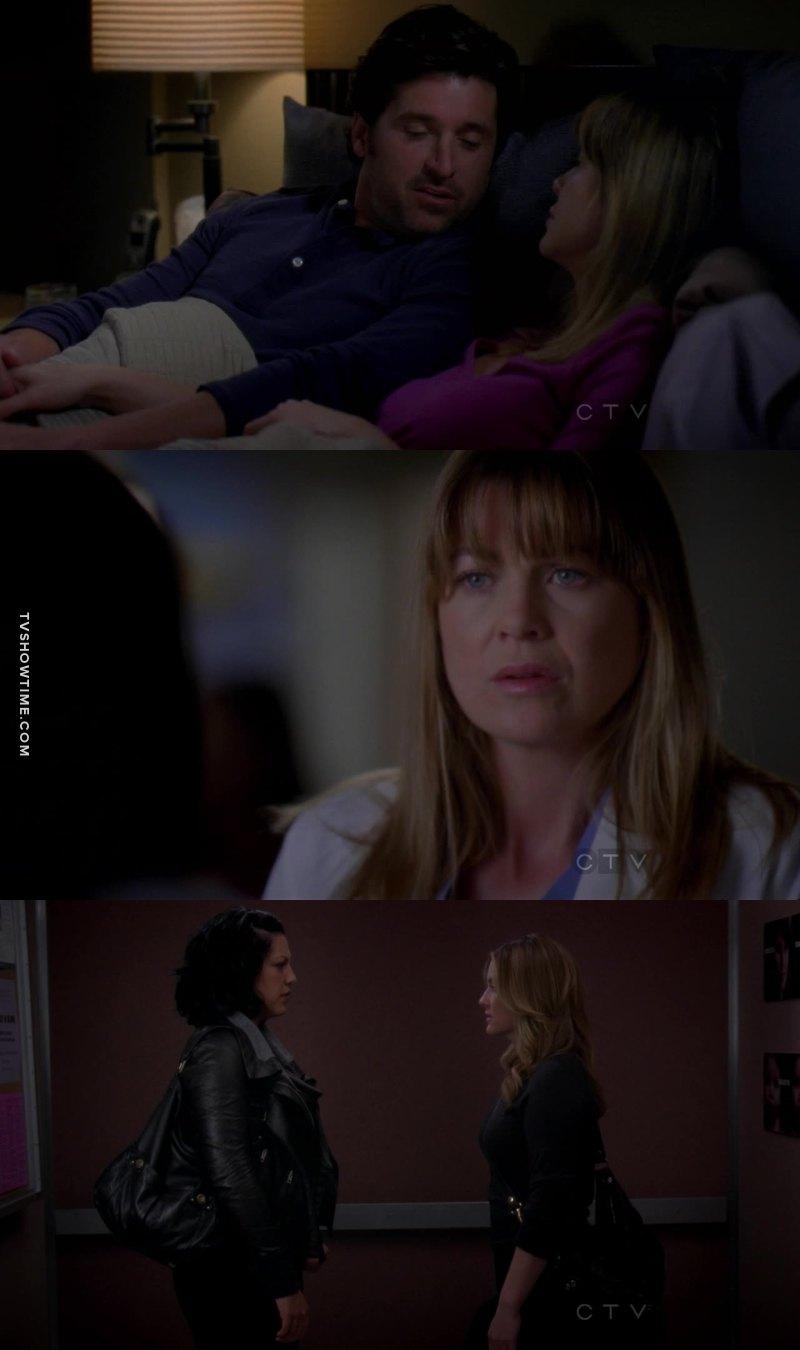 Meredith preocupada tentando engravidar e Callie de boas gravidinha do Mark. Novos rumos pra esse pessoall.