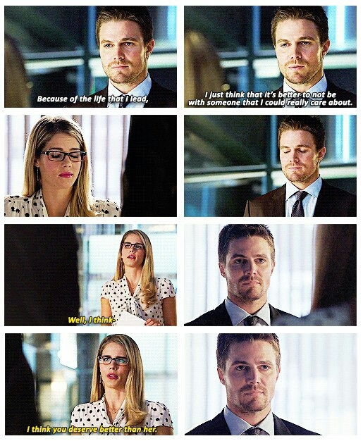 '' Why her?  I mean, besides the obvious leggy model reason. '' Felicity.. 😭