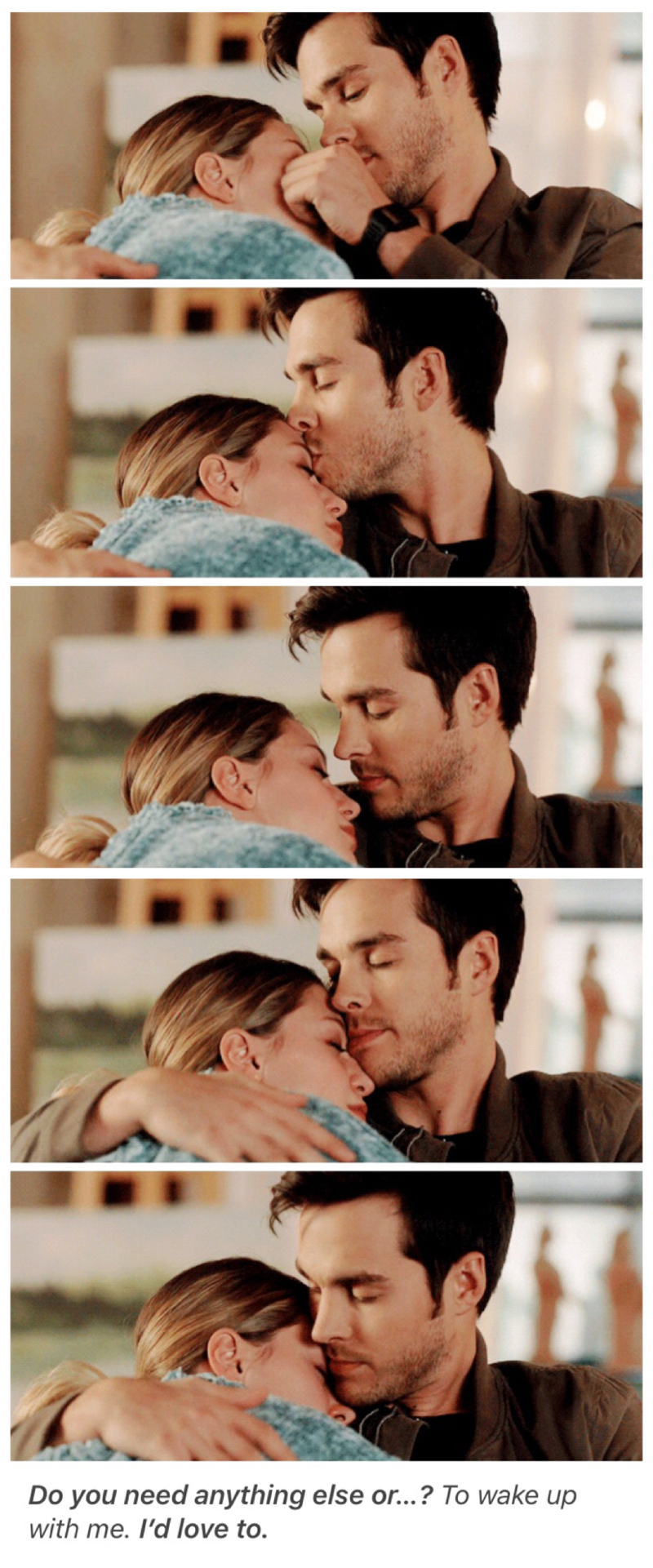 """"""" I'm not gonna talk. Why don't you tell me what you need. I'll listen."""" Mon-El  """" Just be here with me"""" Kara   Cuteness overload 😍💕"""