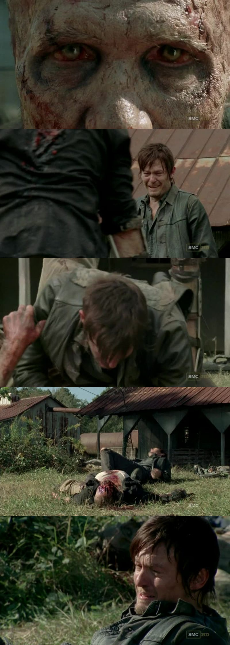 Poor Merle, he showed us that he was more than a simple idiot completly mad... RIP  I also feel so sorry for Daryl... I wanna hug him !