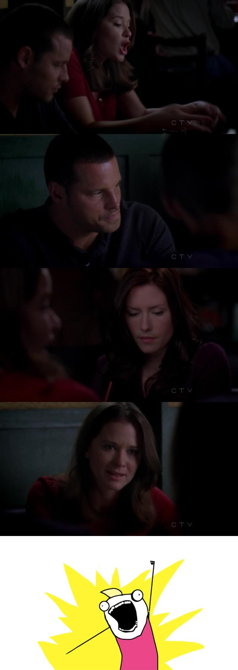 'Sono vergine si, e allora? Non è una cosa di cui parlo ok? Tutti abbiamo cose di cui non parliamo. Alex tu hai paura di prendere l'ascensore da circa un mese ma non ho mai detto niente perché non sono affari miei e tu Jackson ti svegli urlando tutte le notti perché hai gli incubi. Meredith tu non parli di Cristina perché hai paura che non sarà mai più la stessa Cristina e...Lexie, per l'amor di Dio, MARC NON HA MAI PENSATO CHE TU SIA PAZZA! Ti ama! Ecco perché ti fissa, perché non riesce a staccare gli occhi dalla donna che ama. Certo, non ti dirà mai niente perché si sente di non poterlo fare...TUTTI ABBIAMO COSE DI CUI NON PARLIAMO!'   👏🏼👏🏼💪🏼🔝