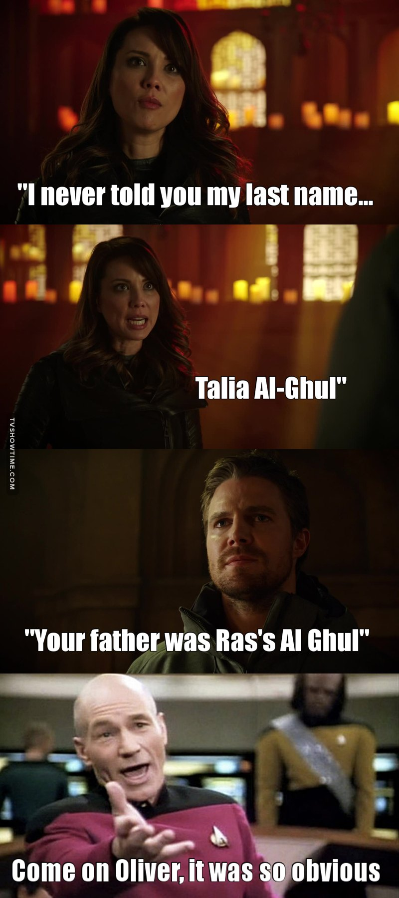 So turns out Oliver is the only one who didn't know she was an Al Ghul. Come on bro, is common knowledge. 😂