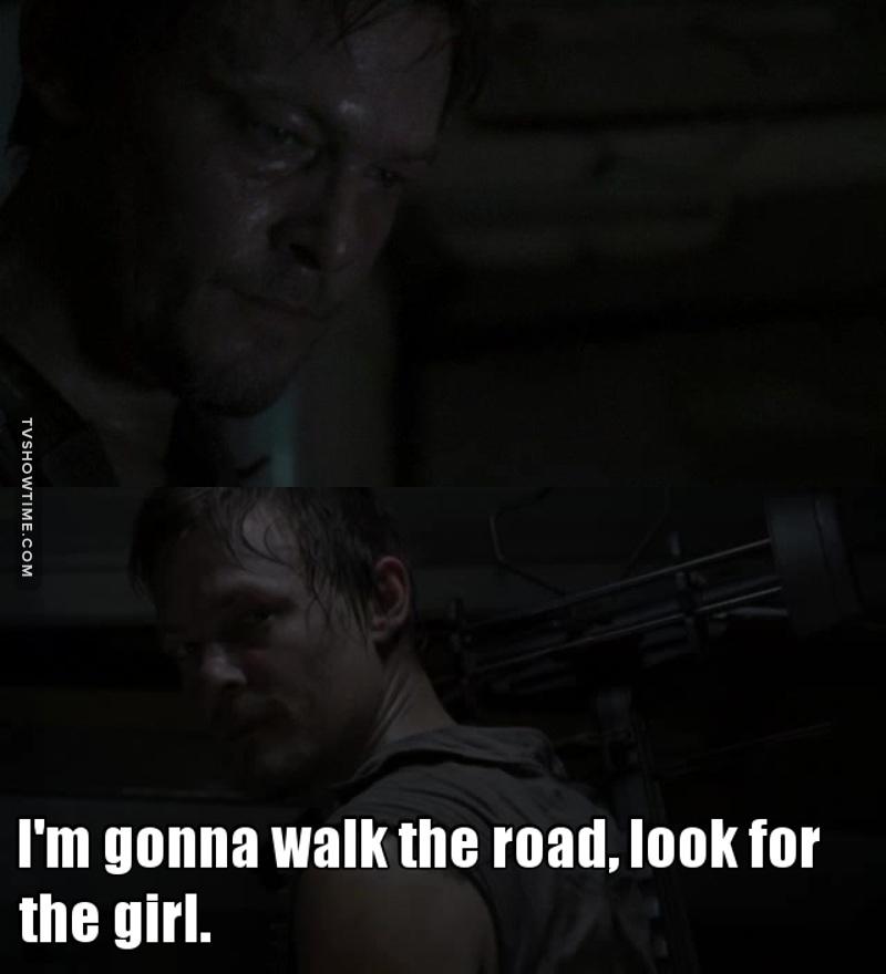 """On parle tjrs de Rick pour cette série, mais pour l'instant Rick c'est le cow-boy, le héros, ces actions sont prévisibles. Alors que Daryl il passe de """"connard/facho/nerveux"""" à héros potentiel, son évolution est plus intéressante.. En tt cas pour l'instant.."""