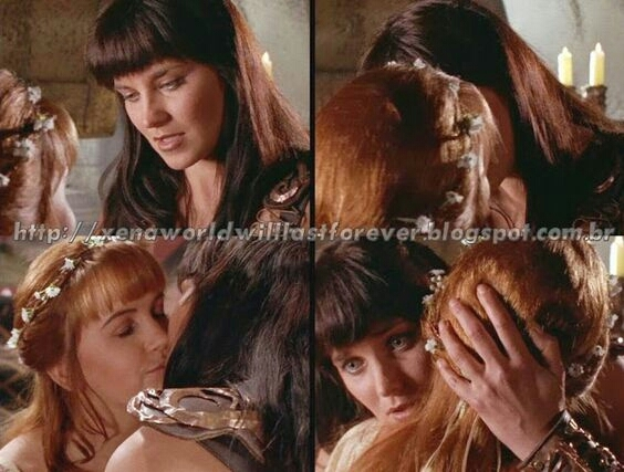 """And just when it feels right you say you found someone to hold you Does ""he"" like i do? Oh tell me, baby, does ""he"" love you like the way I love you? Tell me does ""he"" miss you, existing just to kiss you  Like the way I do?""  Don't give up Xena's love, Gabrielle 😭😭😭😭😭😭😭😭"