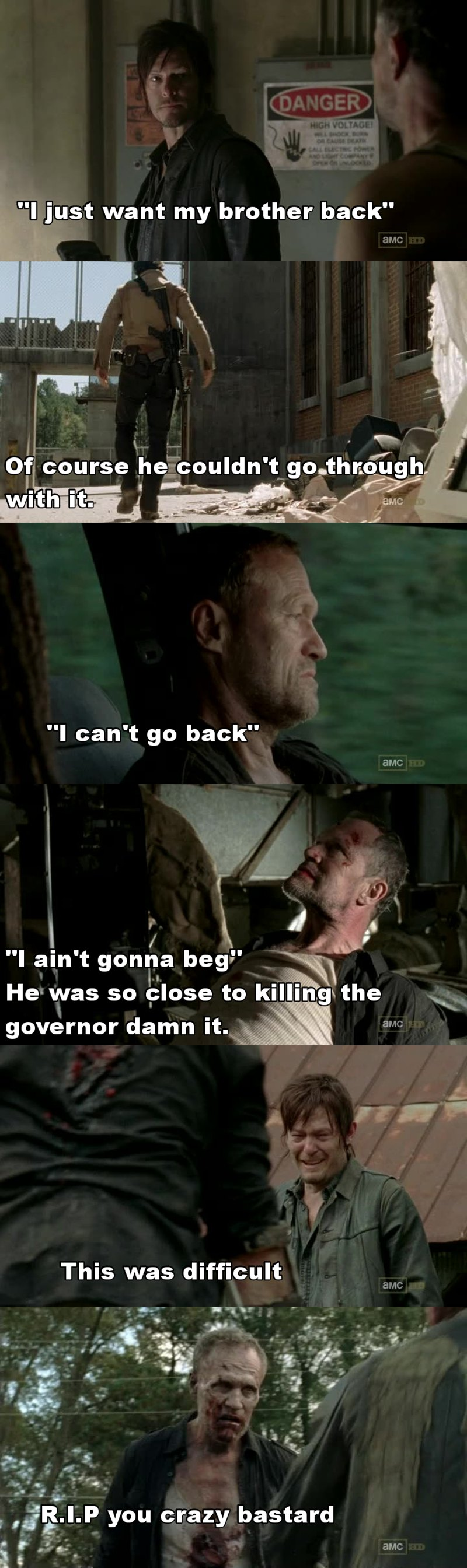 I could see his death approaching fast with how quickly he was being developed as a character, not just a blithering idiot with a taste for violence but an actual person who loved his brother.  R.I.P Merle