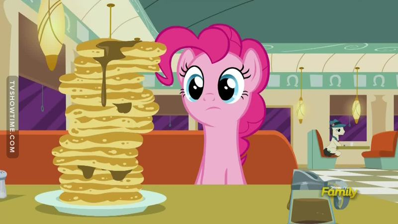 "Did anyone see the Pinkie Pie clone behind the pancake stack? :)  In the beginning I did not like this episode very much. I thought it was tiring with all the flashback to the interviews which flashbacks again to when they were fixing the store.. a very messy way of telling a story. But in the end it grew on me, and the ""lesson"" about how to rely on friends and use their skill set and so on was very Friendship Is Magic!"