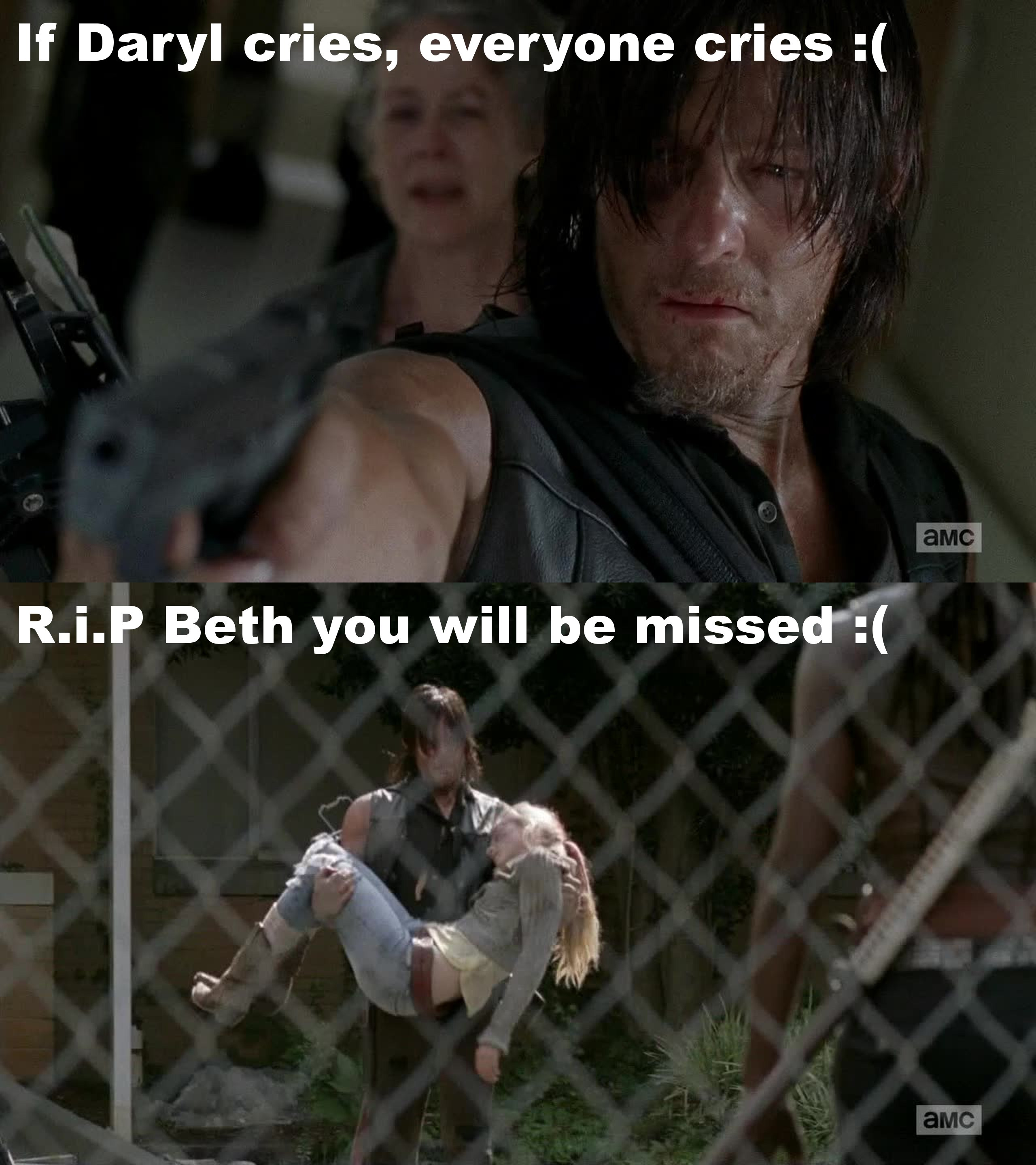 This episode was so emotional , Beth dying was a shock to me, really sad to see her go :( The scene when Daryl cries hit me the most, and that's when i Cried !!! RiP Beth Greene, at least you're in heaven with Hershel :( !!!
