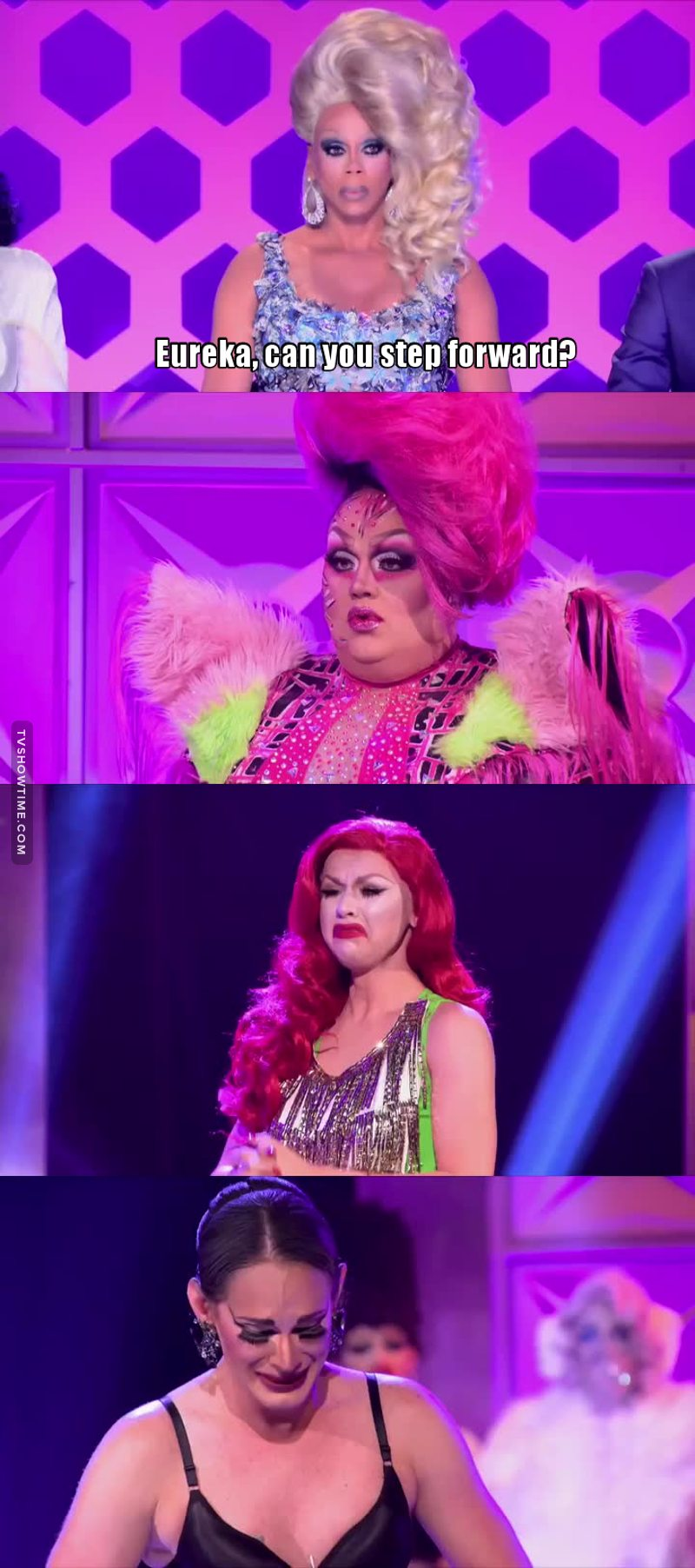 """I have to say, I am really sorry for Eureka. I believe she wasn't as much of a bad bitch as she wanted us to believe and it must be even harder to be excluded from the competition for something that doesn't depend on you (although, when Ru called her on stage, I was already expecting some Willam drama).  The other two should really thank the gods of drag for having their back because neither Cucu """"I don't know the words of any song"""" Fontaine nor Farrah """"I should Moan but I whine instead"""" deserved to win that lipsync.  Seriously Farrah, stop making that sad face all the time, it doesn't make you look vulnerable but just weak."""