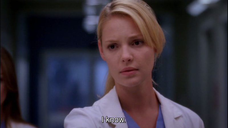 I love how concerned Izzie is for her patients. She is a natural. She has a natural impulse to goodness.