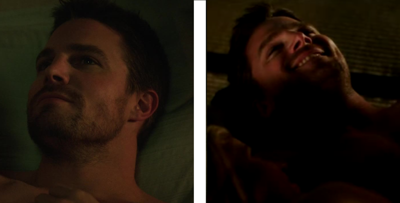 Oliver's face after having sex with Susan // Oliver's face after having sex with Felicity