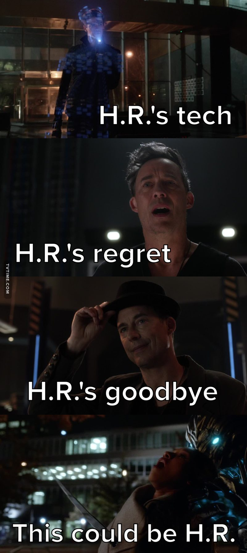 I have a hunch Savitar actually kills H.R. who intentionally cloaked himself as Iris.