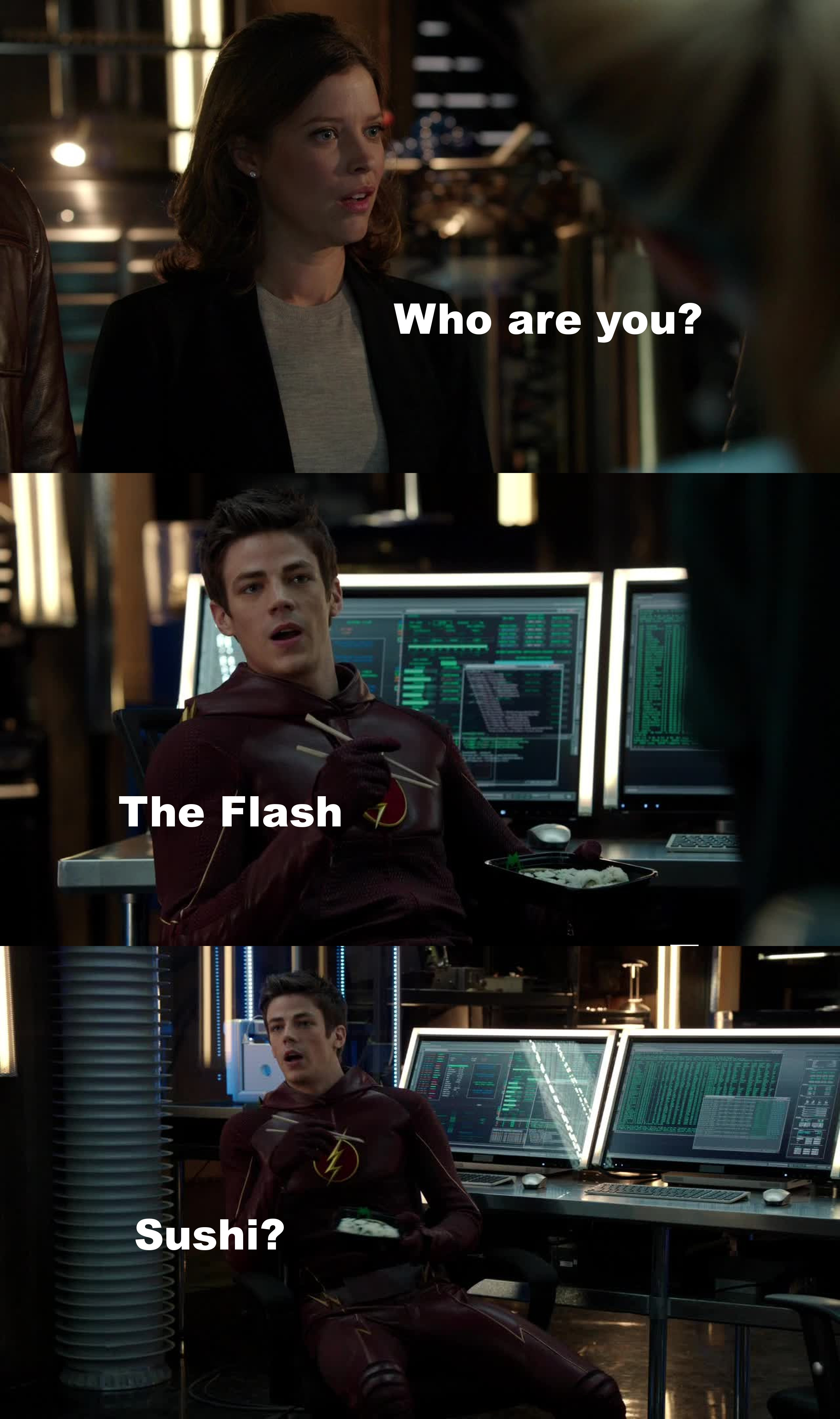 Ahahaha Barry a way funnier than Ollie!  Ollie c'mon, take a break, smile, and eat some sushi.